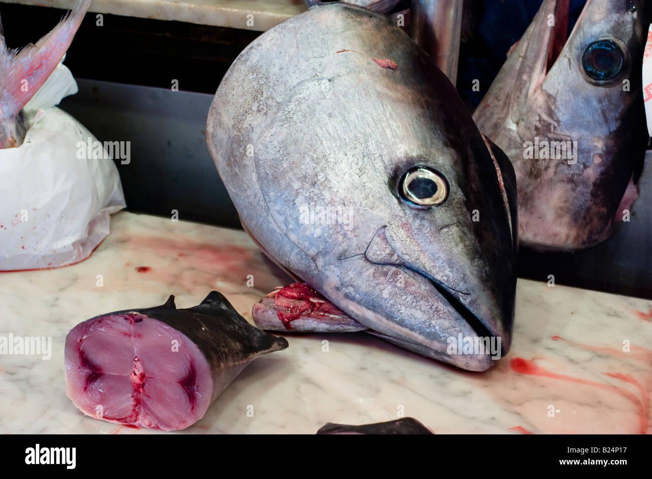 Swordfish at fish market Catania Sicily Italy Stock Photo