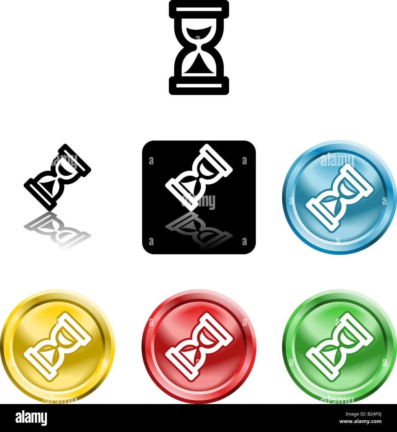 Several versions of an icon symbol of a stylised hour glass - Stock Image