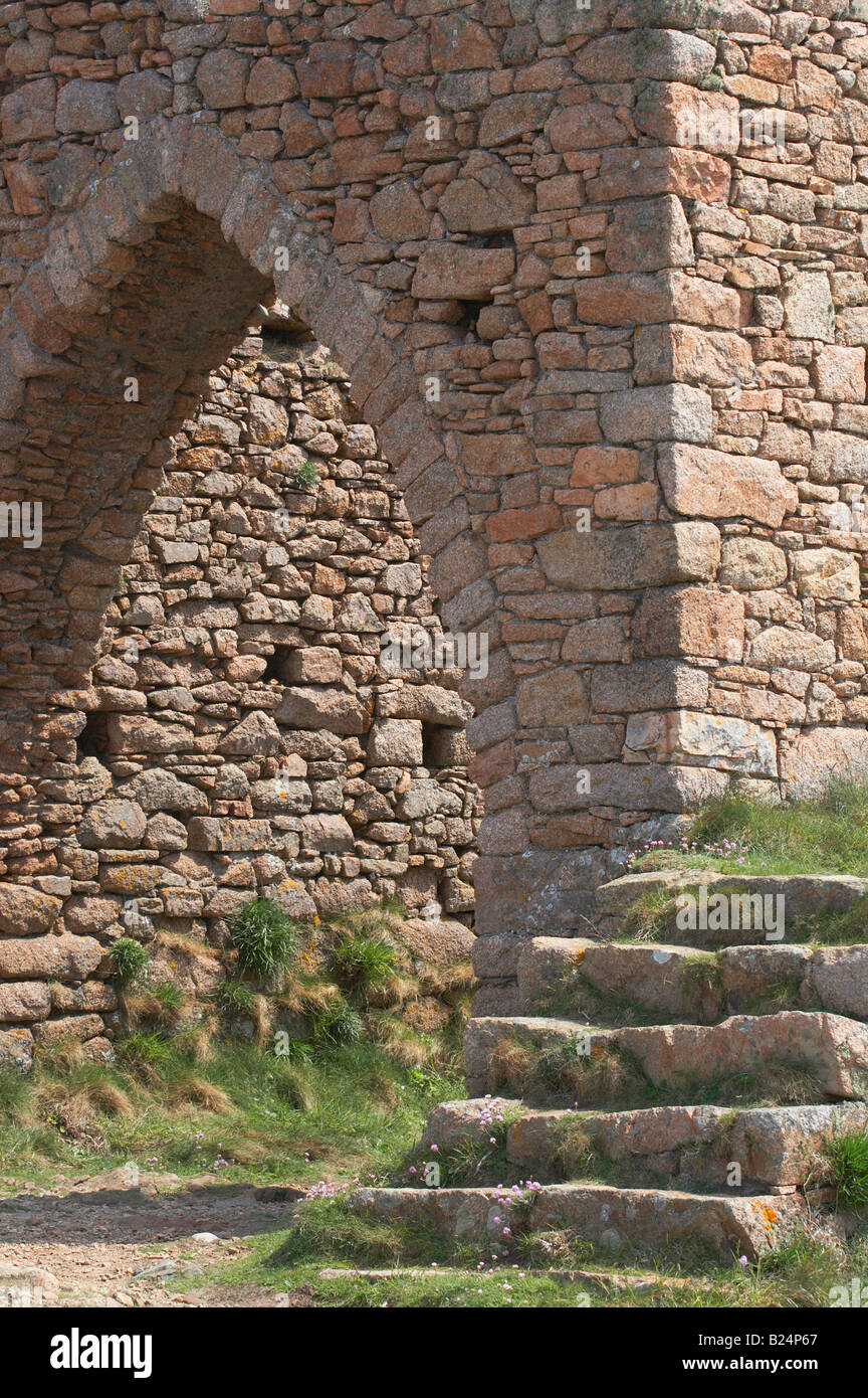 archway and steps of ruined castle remains on Jersey, Channel Islands - Stock Image