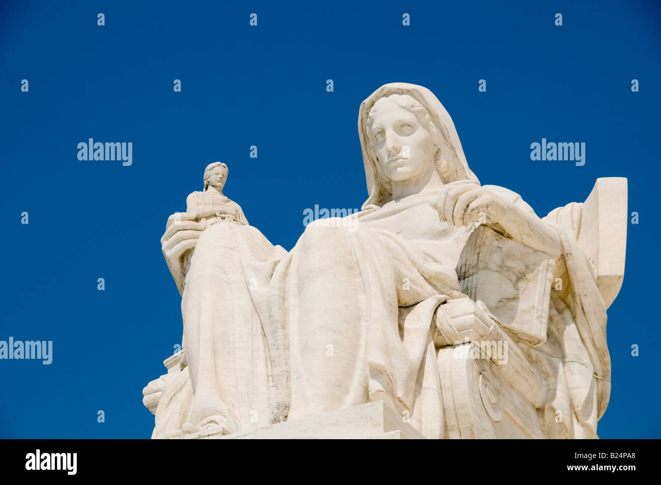 The statue called Contemplation of Justice at the entrance to the US Supreme Court in Washington DC - Stock Image