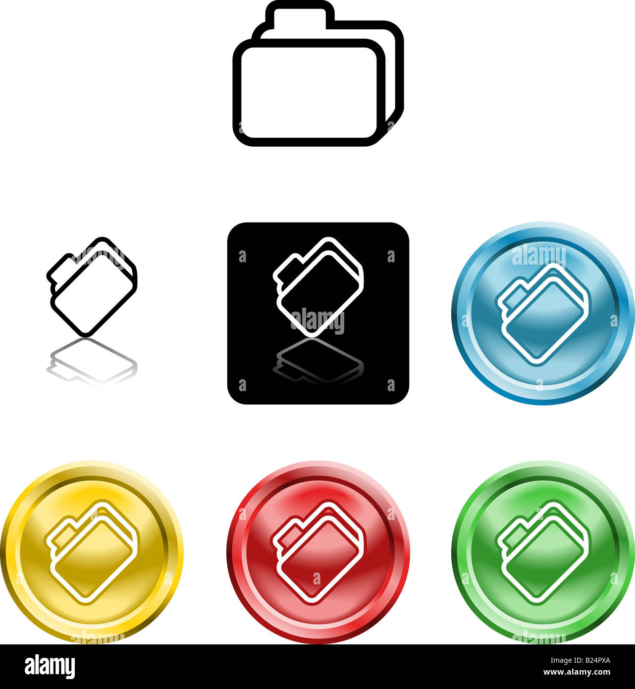 Several versions of an icon symbol of a stylised file folder - Stock Image