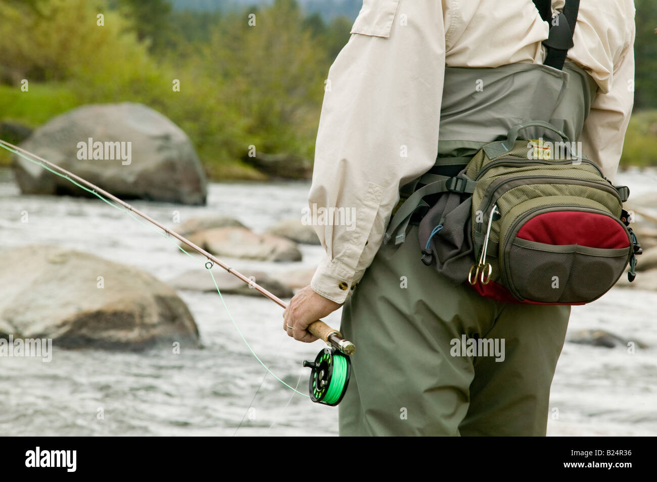 Fisherman on the Truckee River - Stock Image