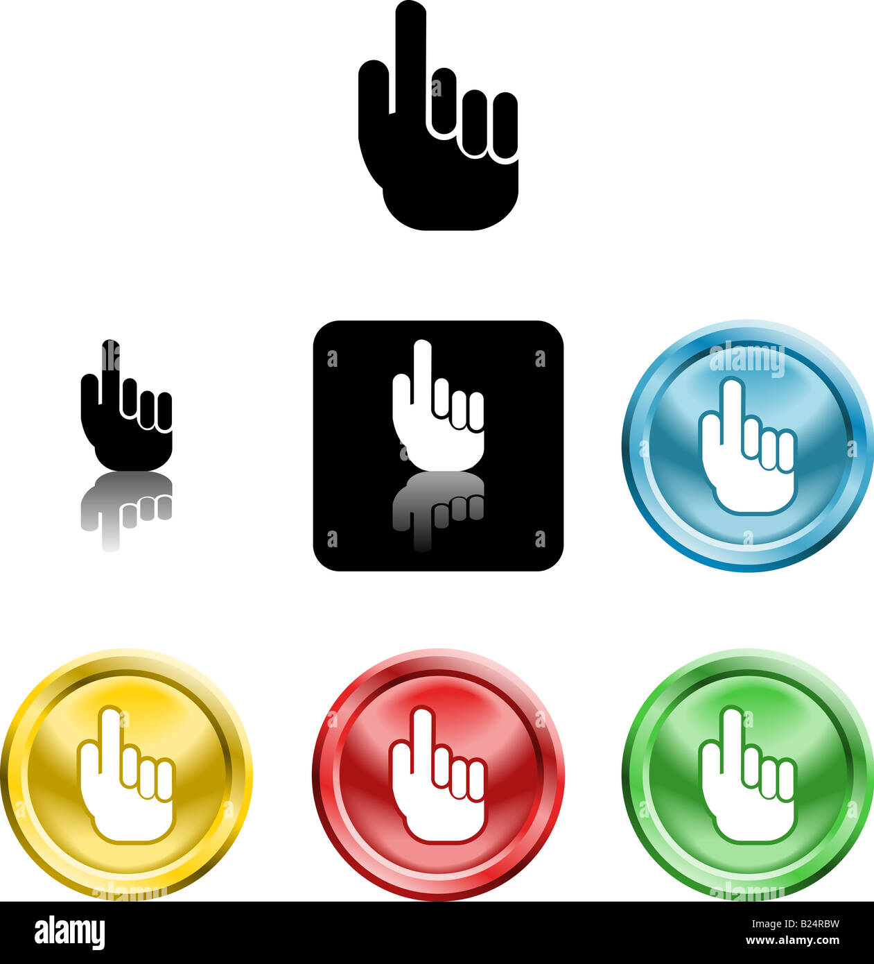 Several versions of an icon symbol of a stylised hand pointing finger upwards - Stock Image