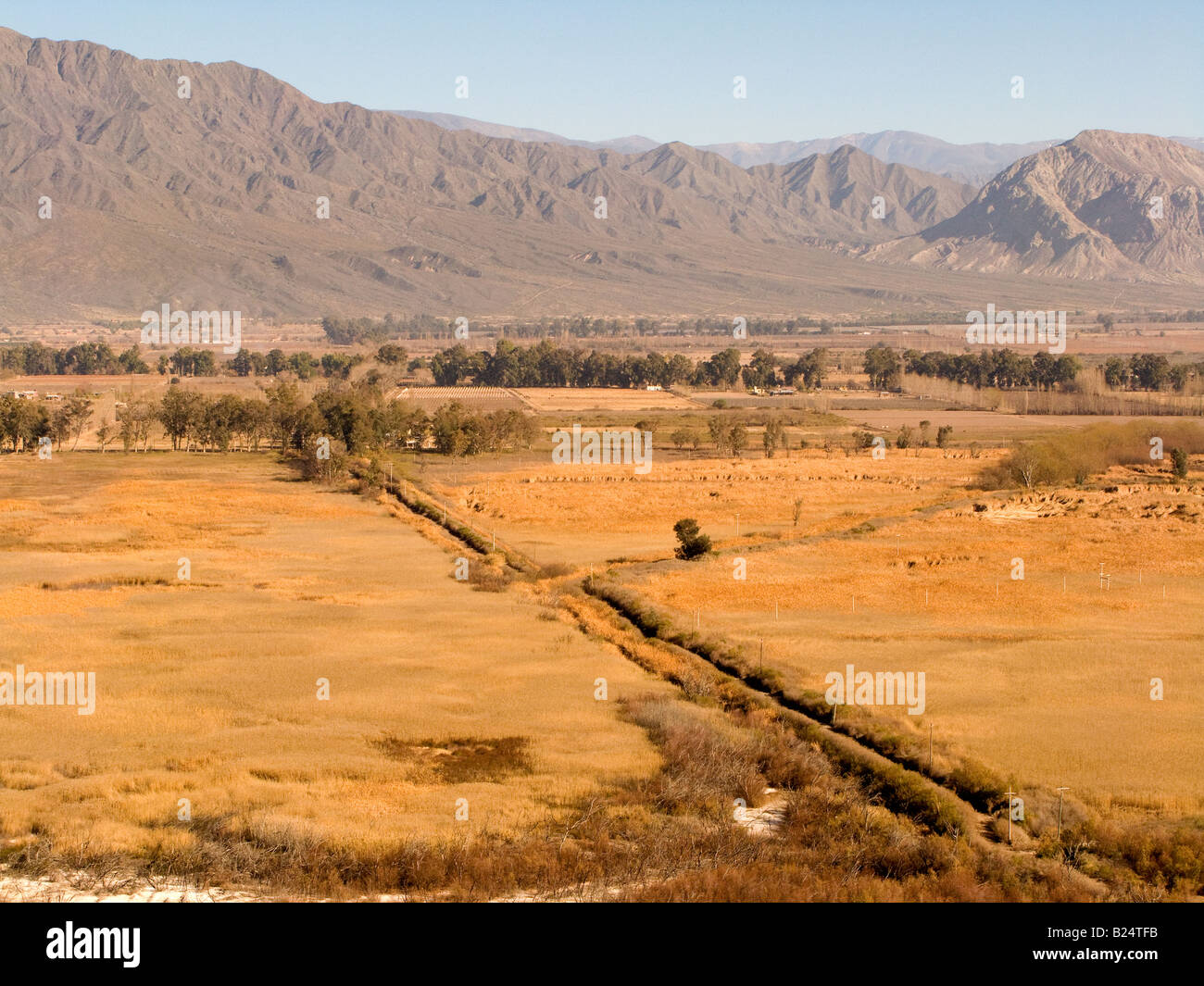 Humid grassland paddocks divided by a gravel road in their winter aspect, in Zonda, San Juan. - Stock Image