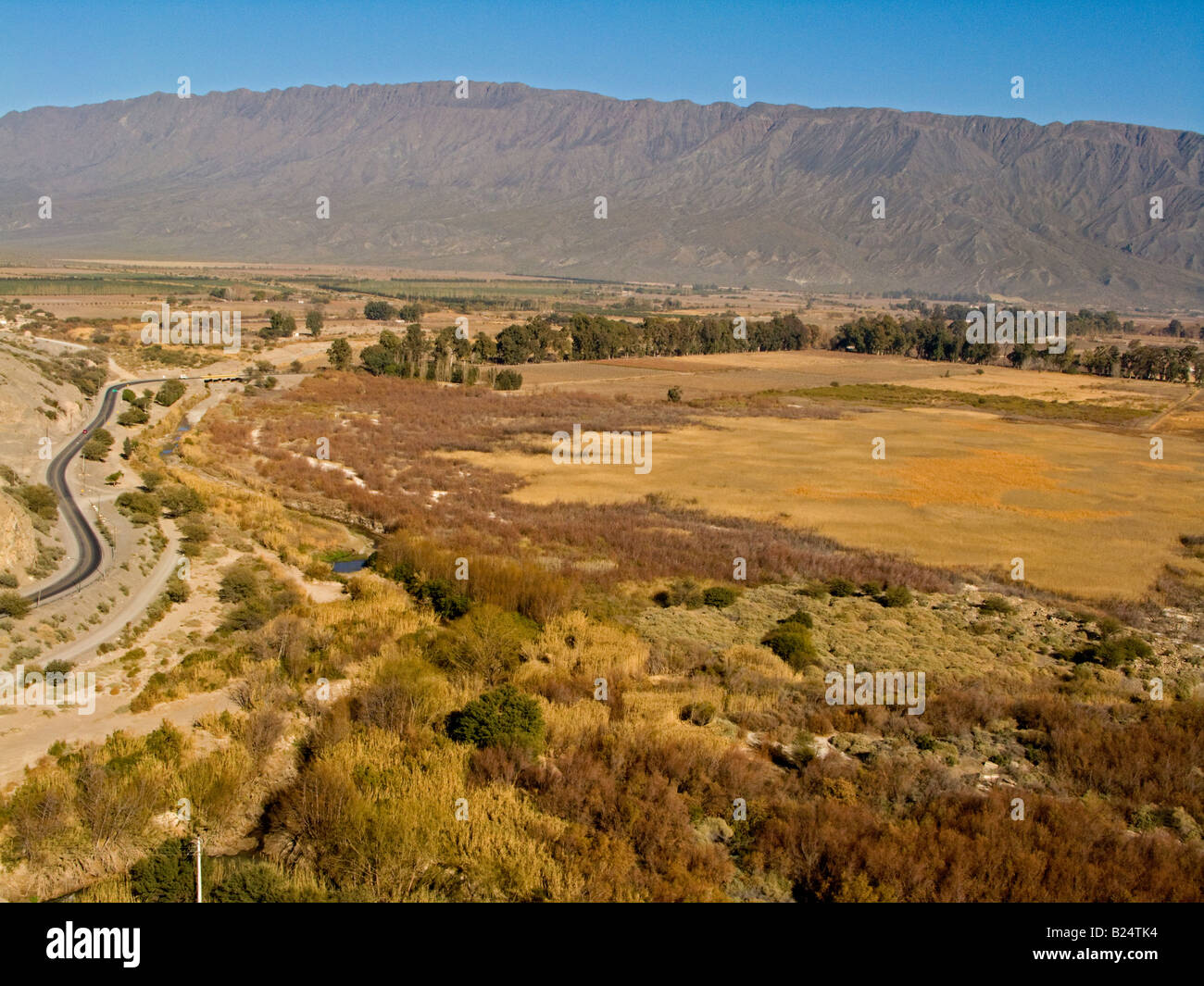 Humid grassland paddocks with a route and Precordillera in the background, in their winter aspect, Zonda, San Juan. - Stock Image