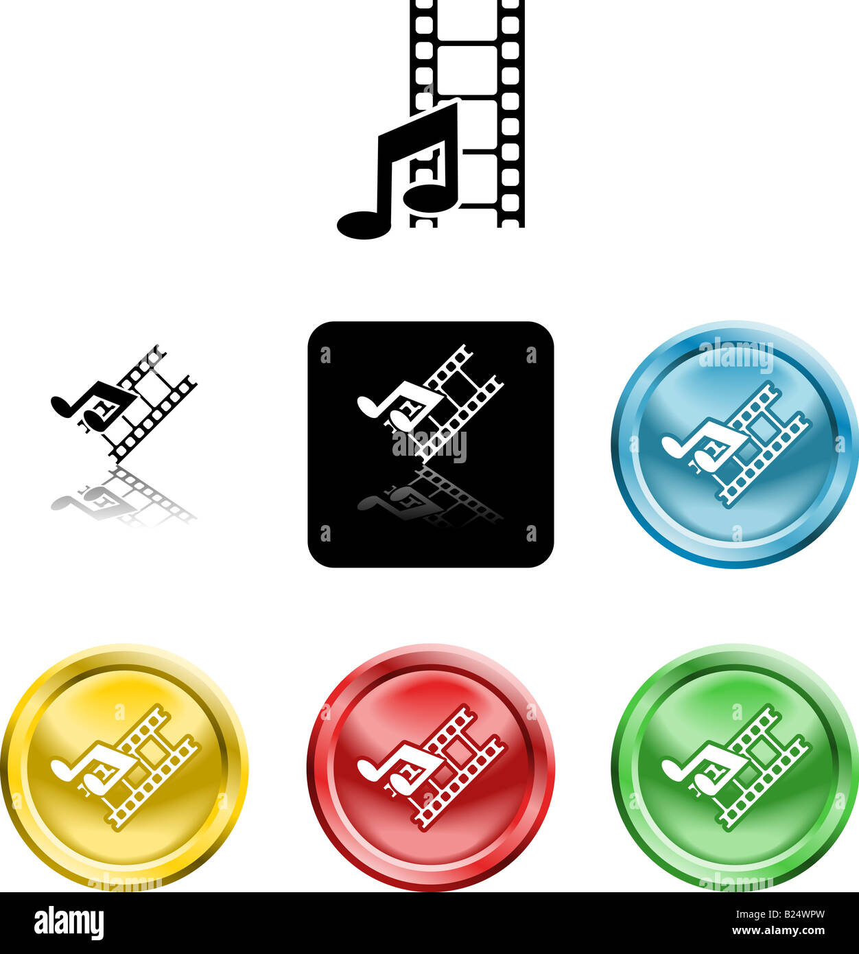 Several versions of an icon symbol of stylised music note and movie film - Stock Image