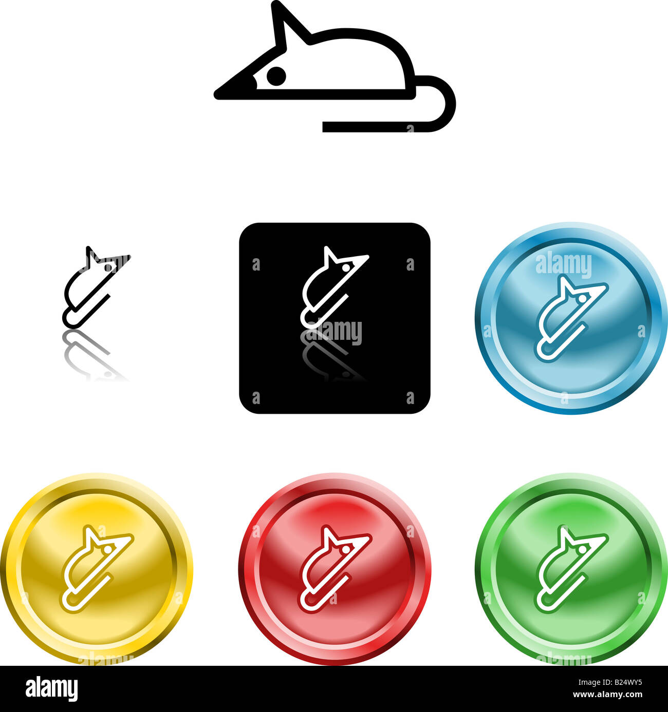 Several versions of an icon symbol of a stylised mouse representing a computer mouse - Stock Image