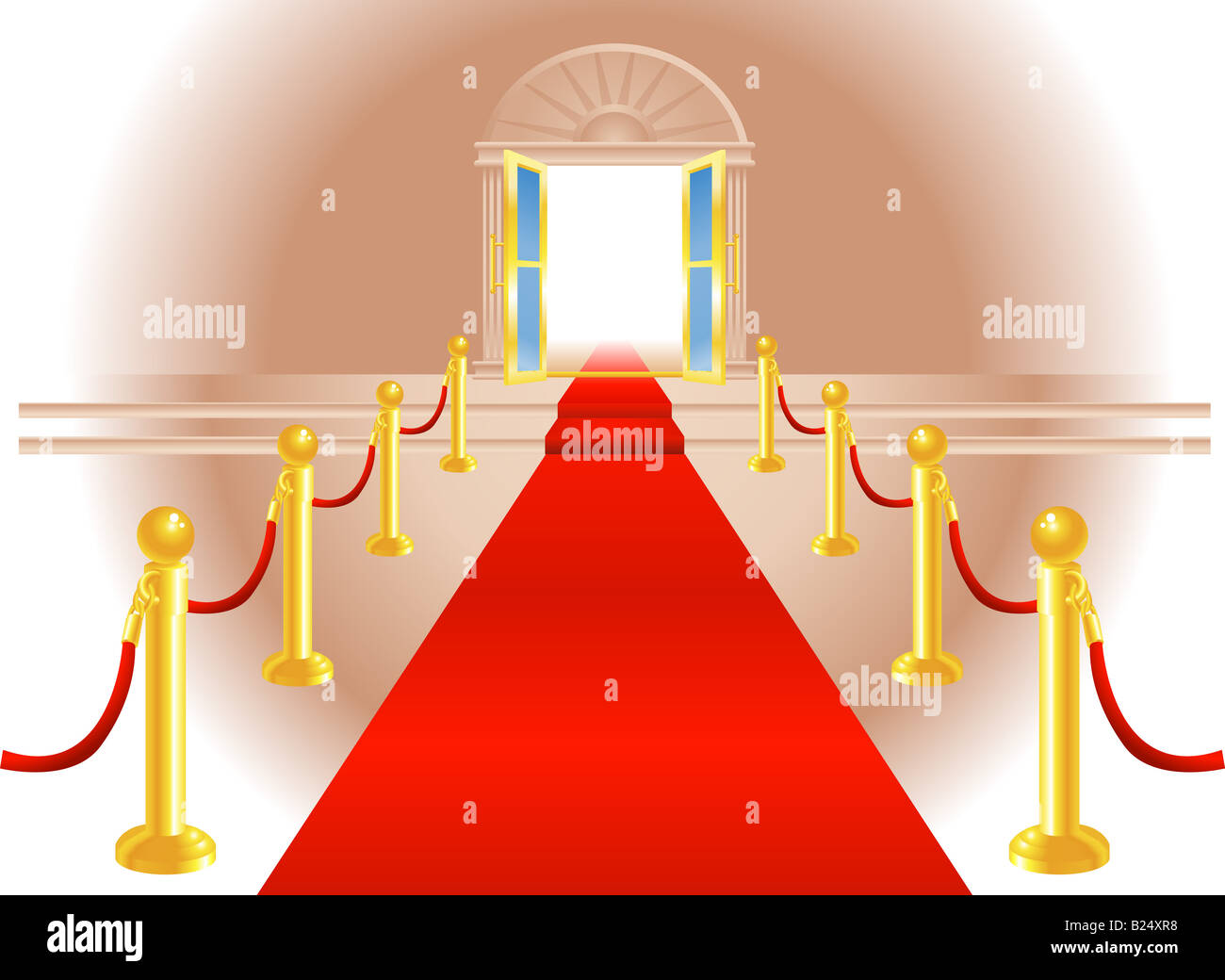 A red carpet leading up to a lavish door to an exclusive venue - Stock Image