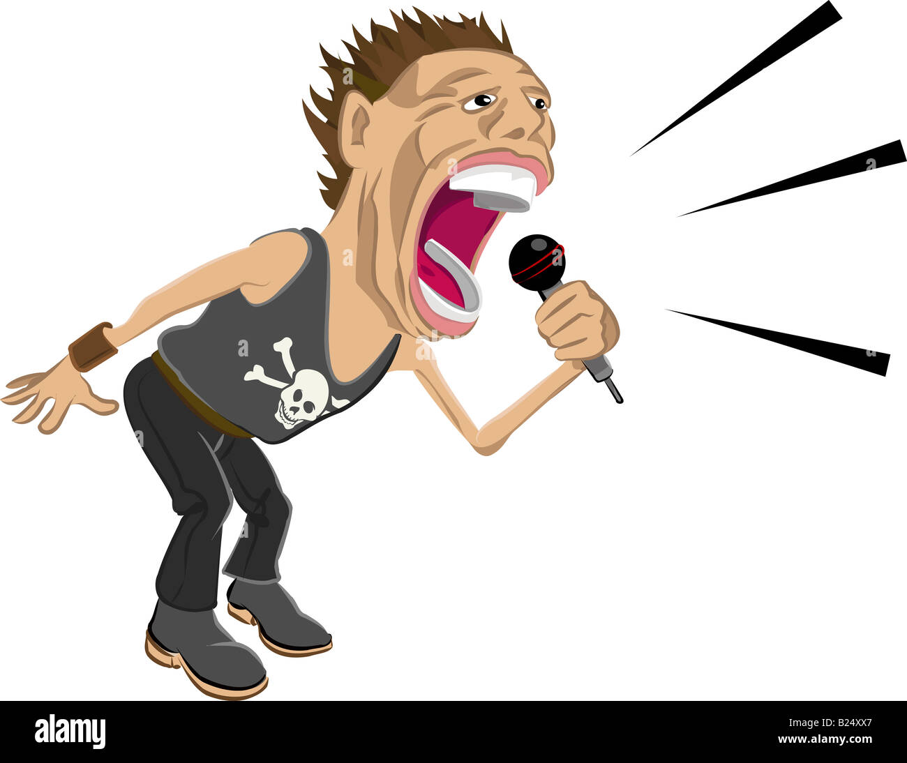 a rockstar screaming into a mic. - Stock Image