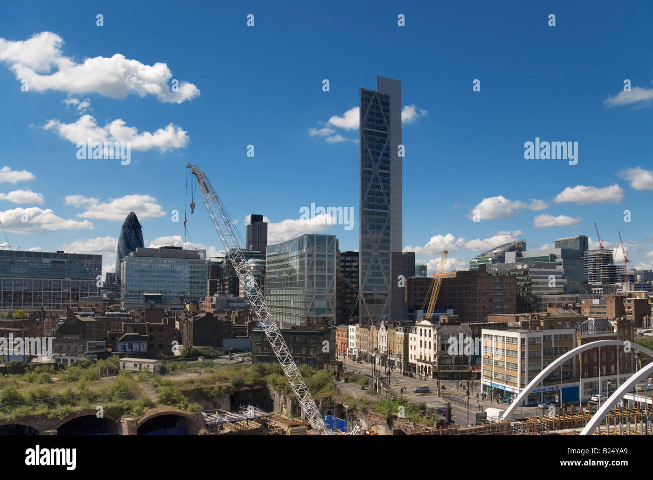 a wide angle shot of the skyline of the City of London with Broadgate Tower on Bishopsgate in the centre of the - Stock Image