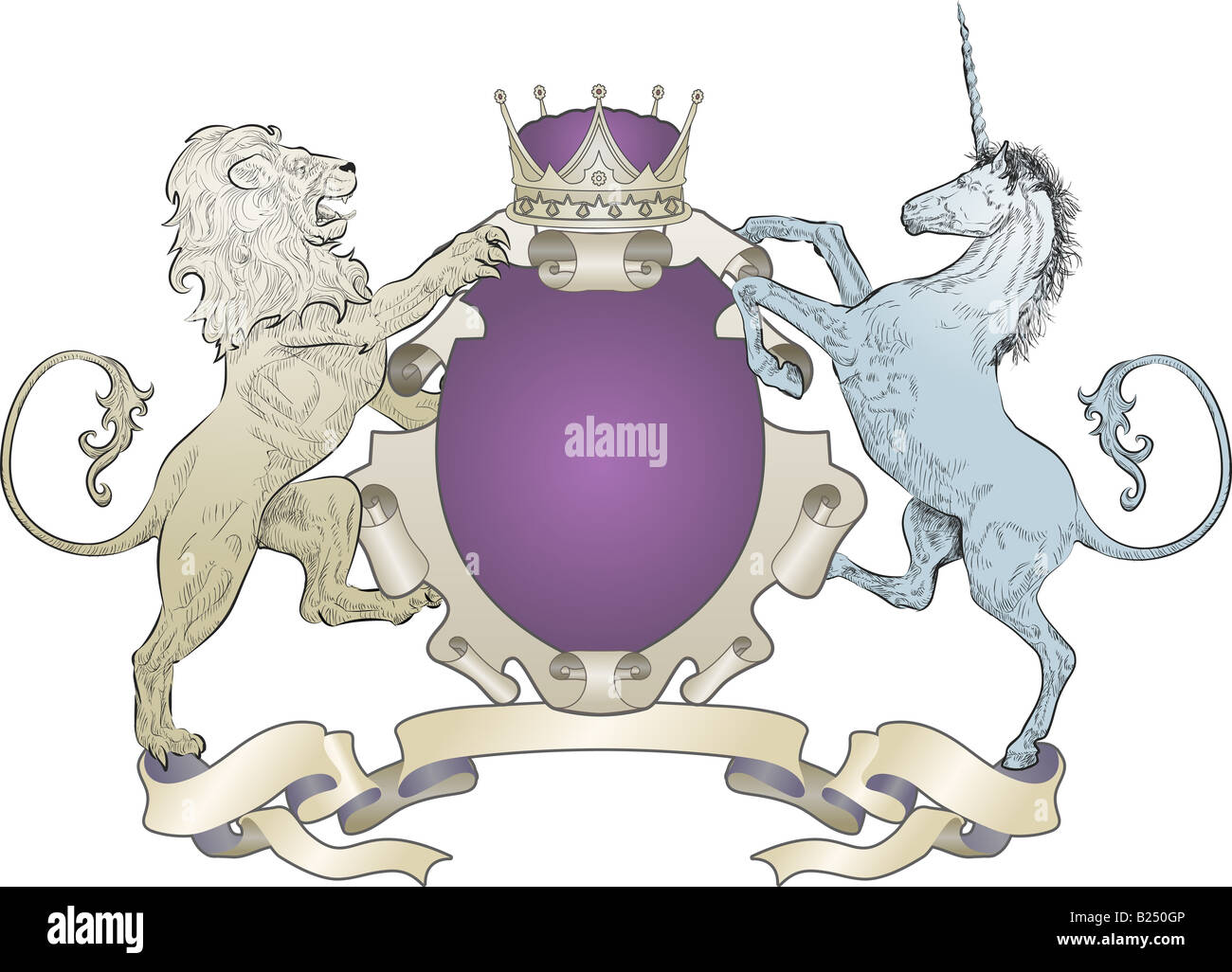 Lion and Unicorn Coat of Arms (no leaves) A shield coat of arms element featuring a lion, unicorn and crown - Stock Image