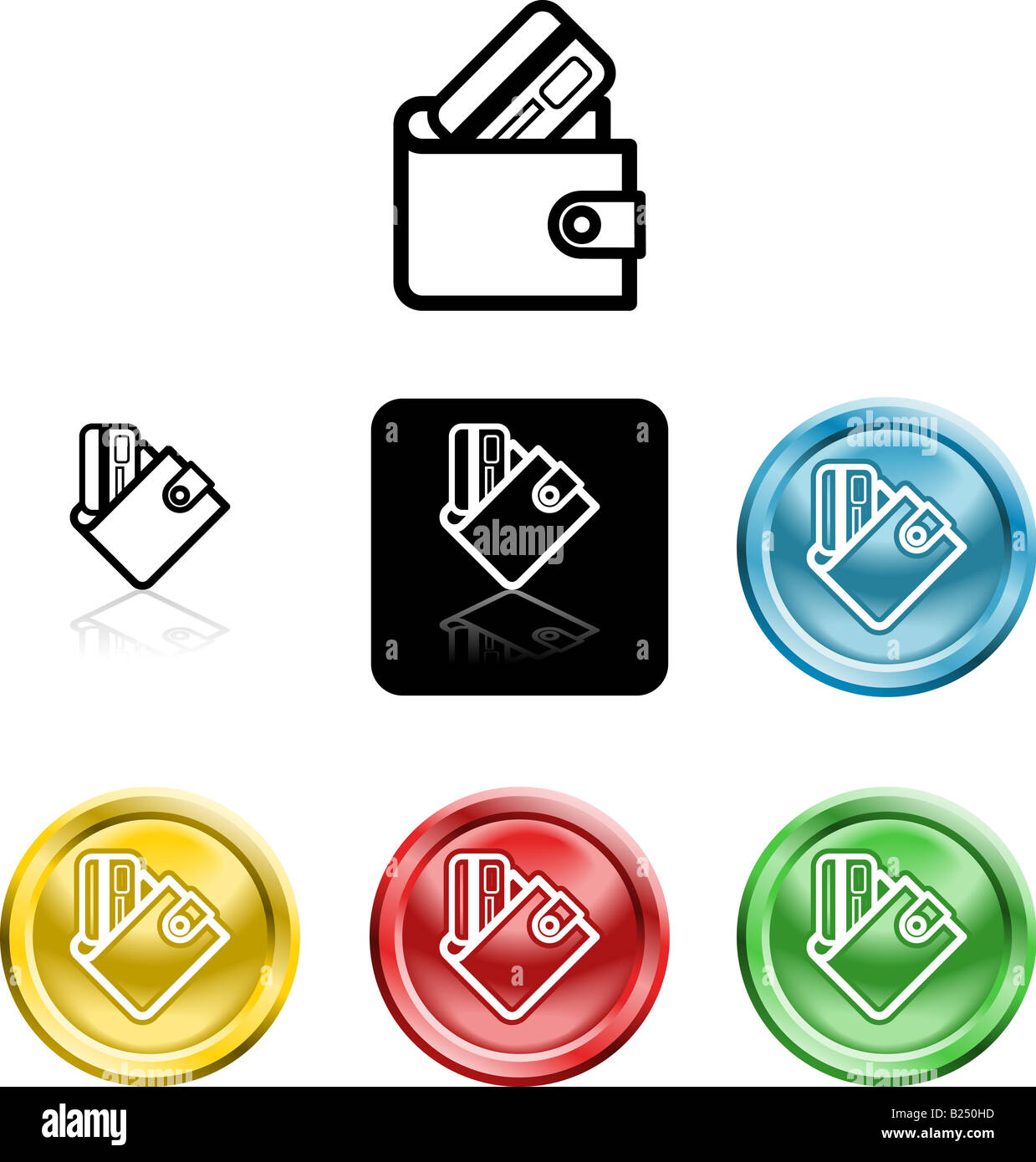 Several versions of an icon symbol of a stylised wallet and credit card - Stock Image