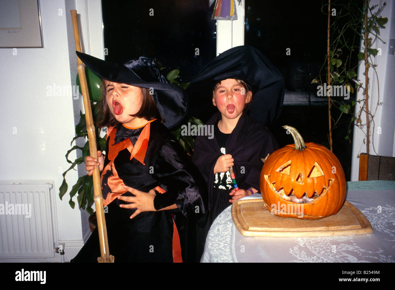Halloween 8 Year Old Witches Pumpkin - Stock Image