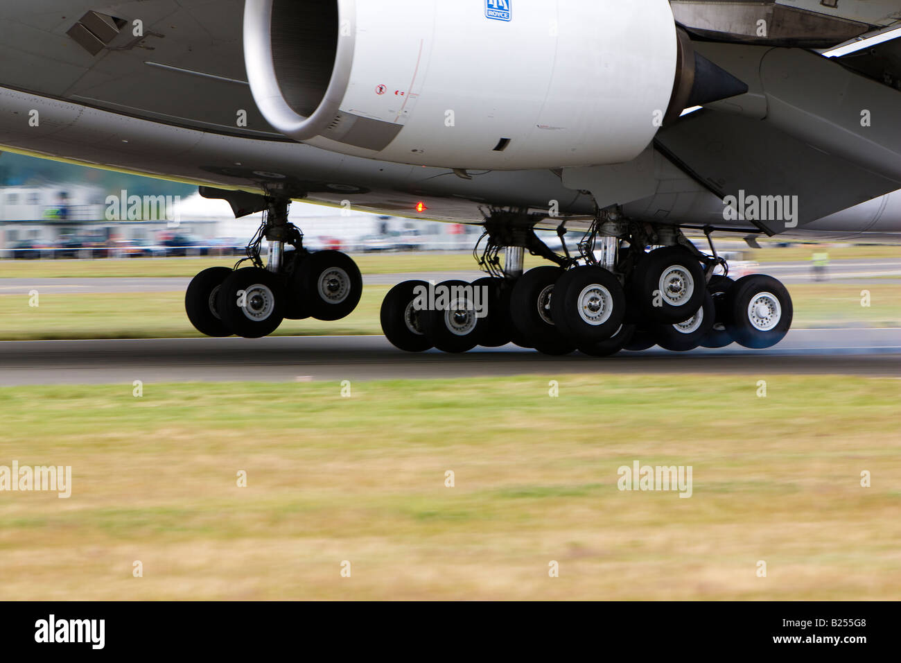 Airbus A380 Undercarriage Large aircraft Gear Copy Space - Stock Image