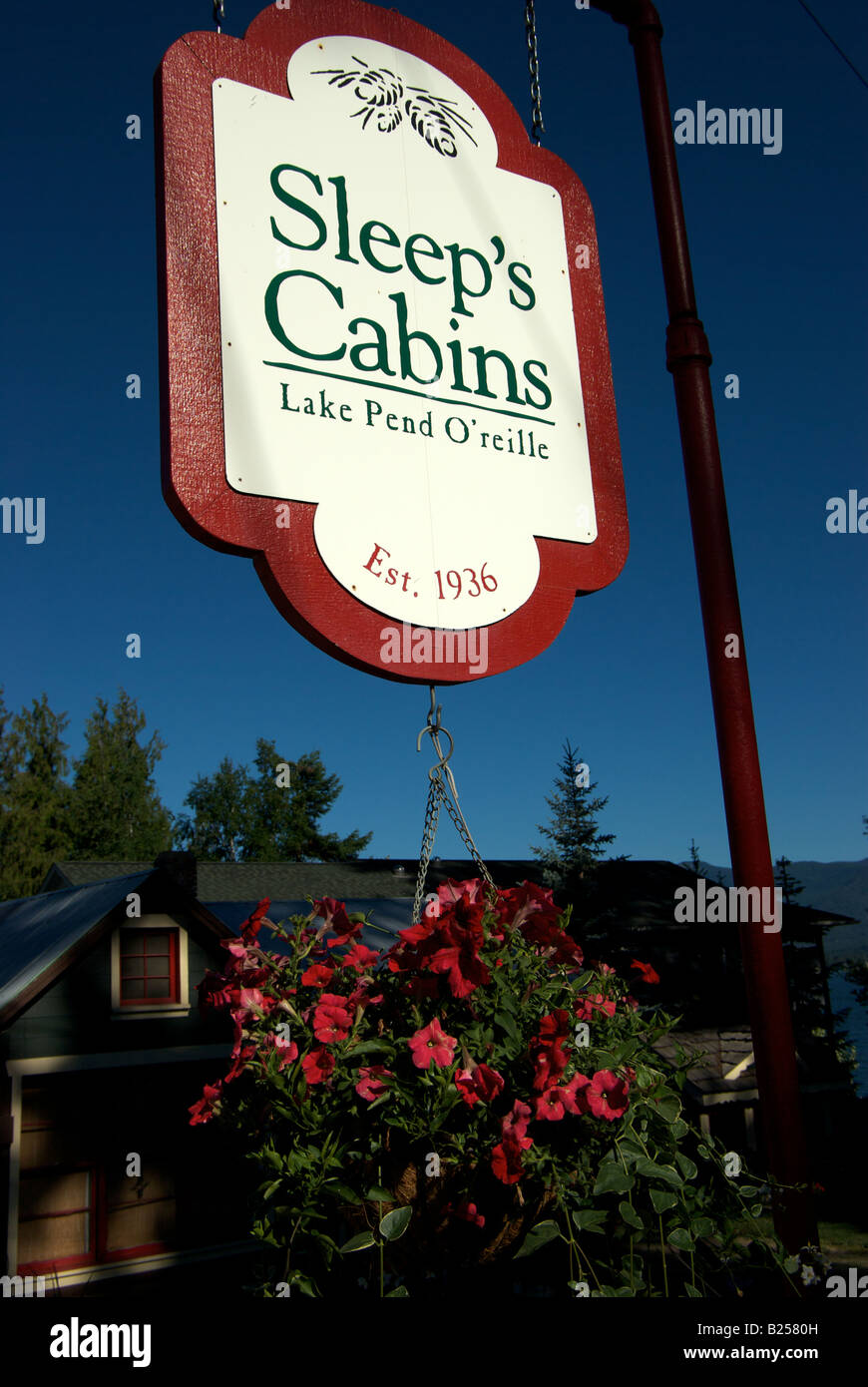 Motel sign in Sandpoint Idaho - Stock Image