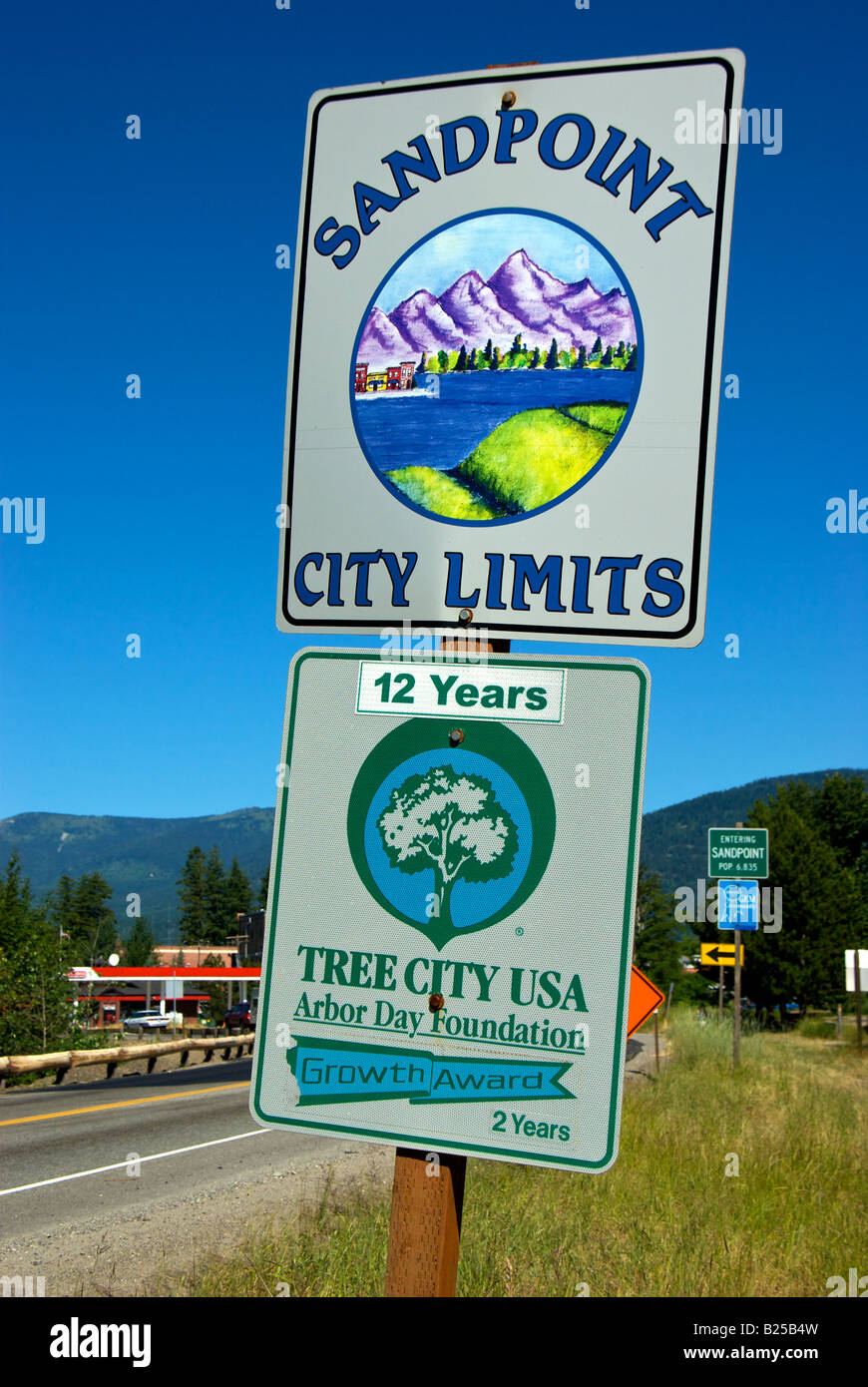 Sandpoint Idaho city limits sign on Highway Route 95 south - Stock Image