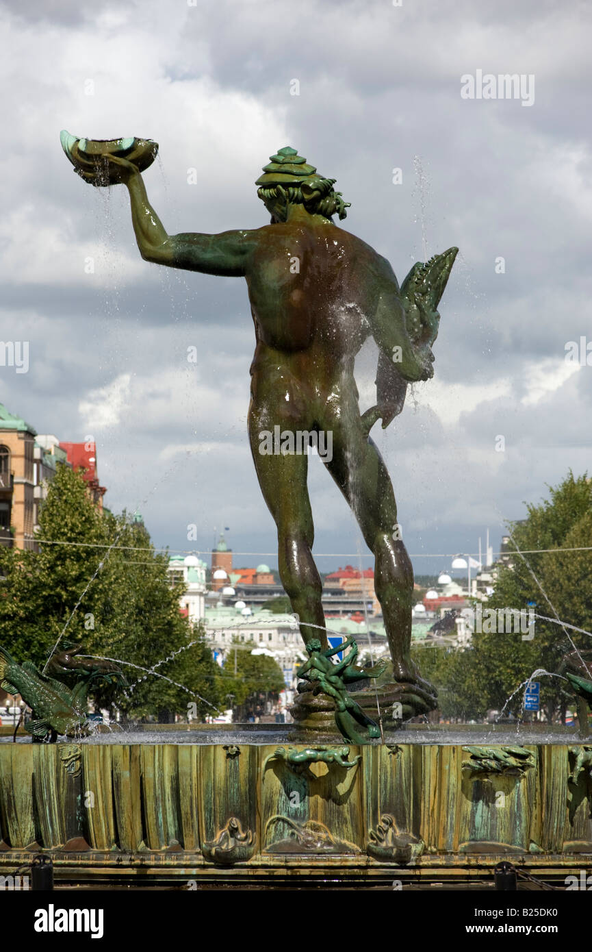 Statue and fountain of Poseidon in main square of Gothenburg Sweden 2008 - Stock Image