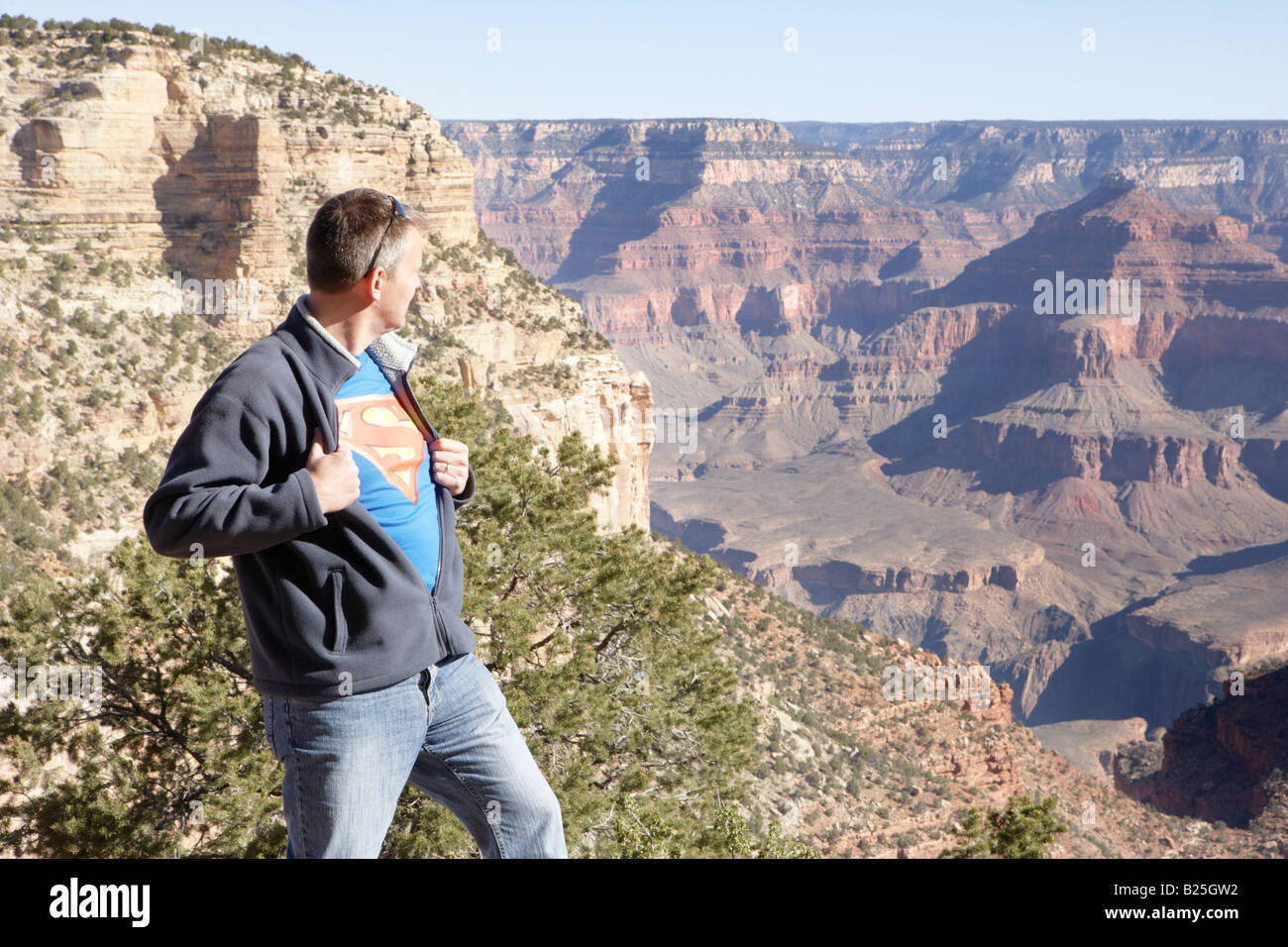 Superman at the Grand Canyon - Stock Image