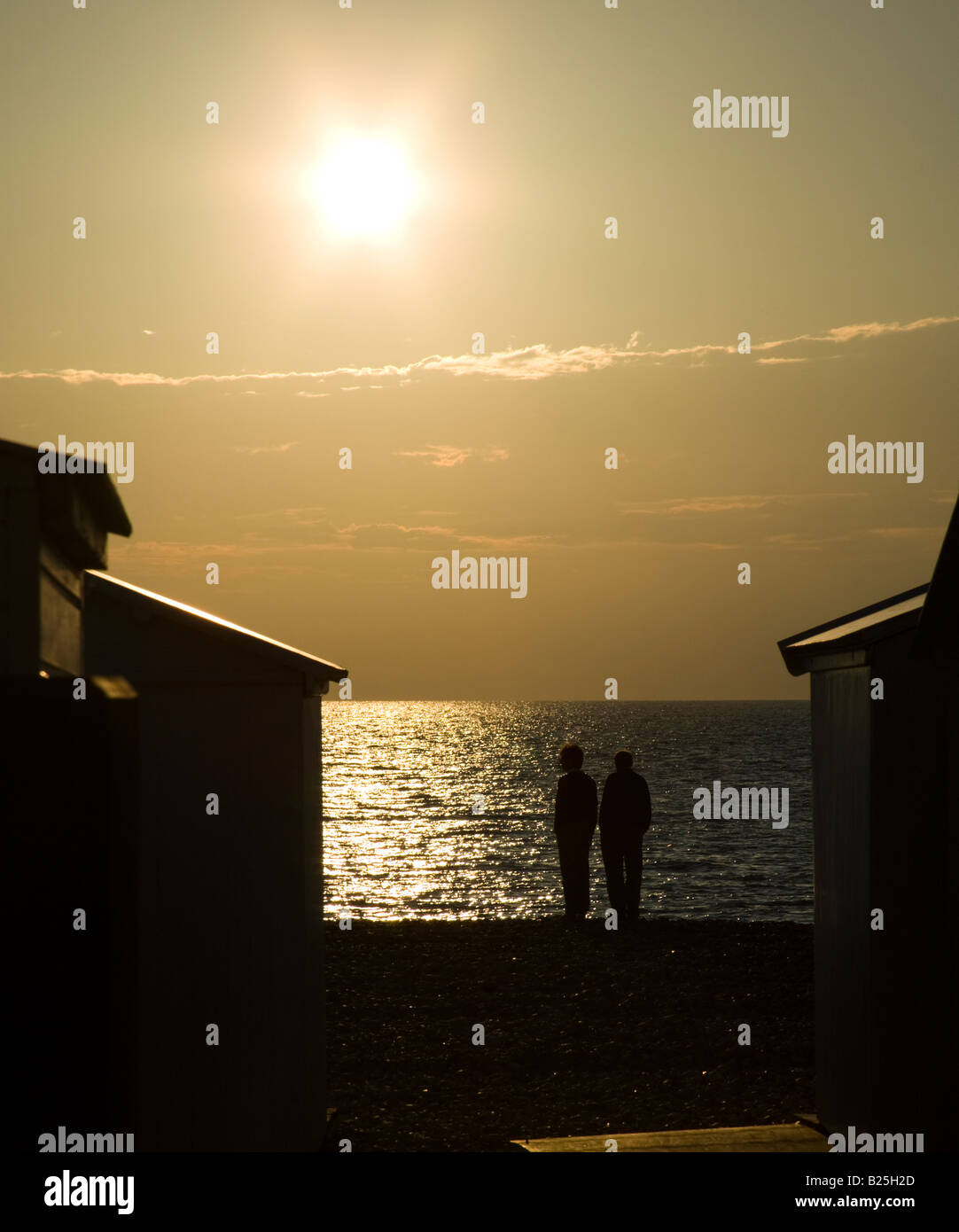 Beach Sillhouette at sunset, Le Treport, France, Normandy, Europe - Stock Image