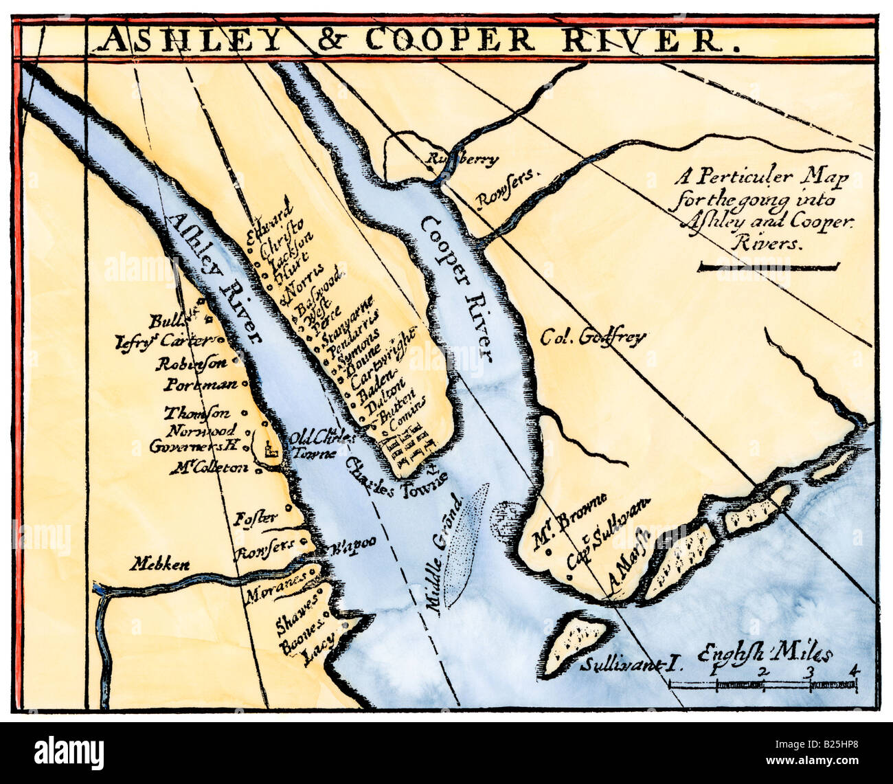 Colonial Map Of The Ashley And Cooper Rivers Site Of Charleston