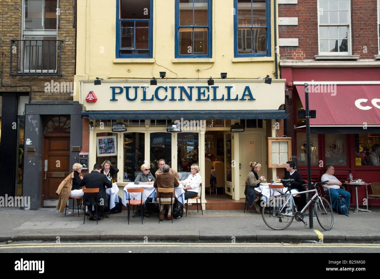 Pulcinella cafe in Old Compton Street, Soho, London, England, UK - Stock Image