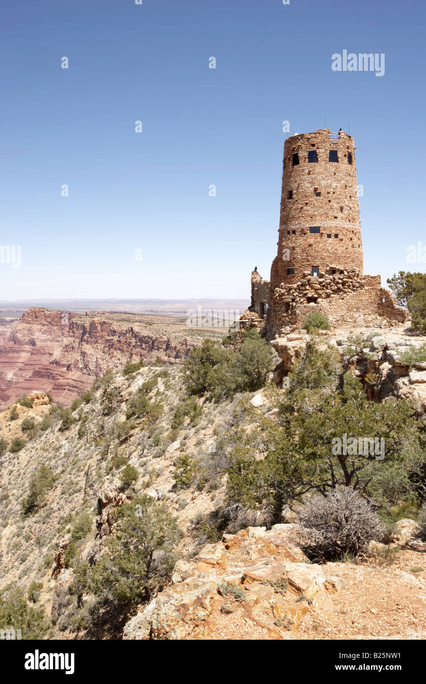 Desert View Watchtower at the South Rim of the Grand Canyon in Arizona USA - Stock Image