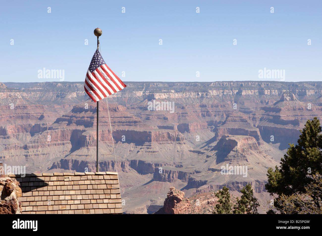 USA Flag at Grand Canyon Village in Arizona USA - Stock Image