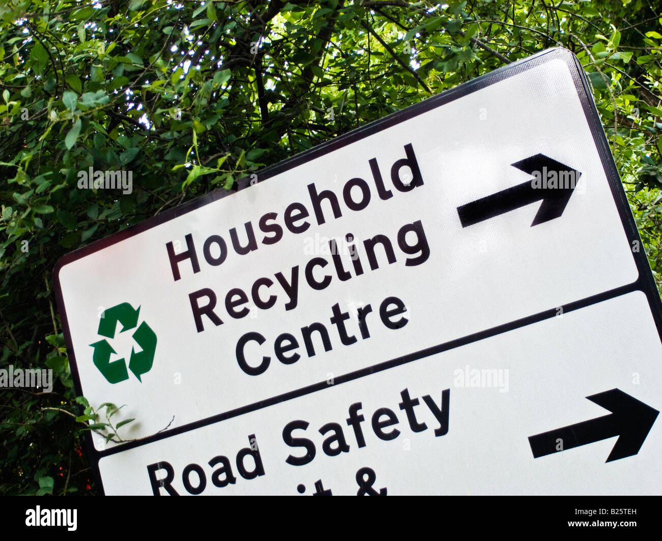 Direction sign to the domestic recycling centre in Melksham Wiltshire UK - Stock Image
