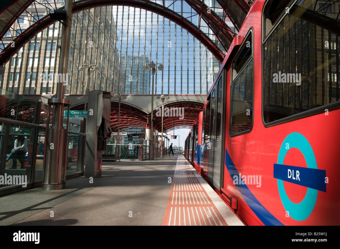 Canary Wharf Docklands Light Railway station, London UK - Stock Image