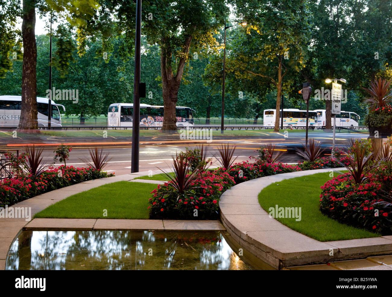 The Dorchester Hotel Front Garden Park Lane London UK Europe - Stock Image
