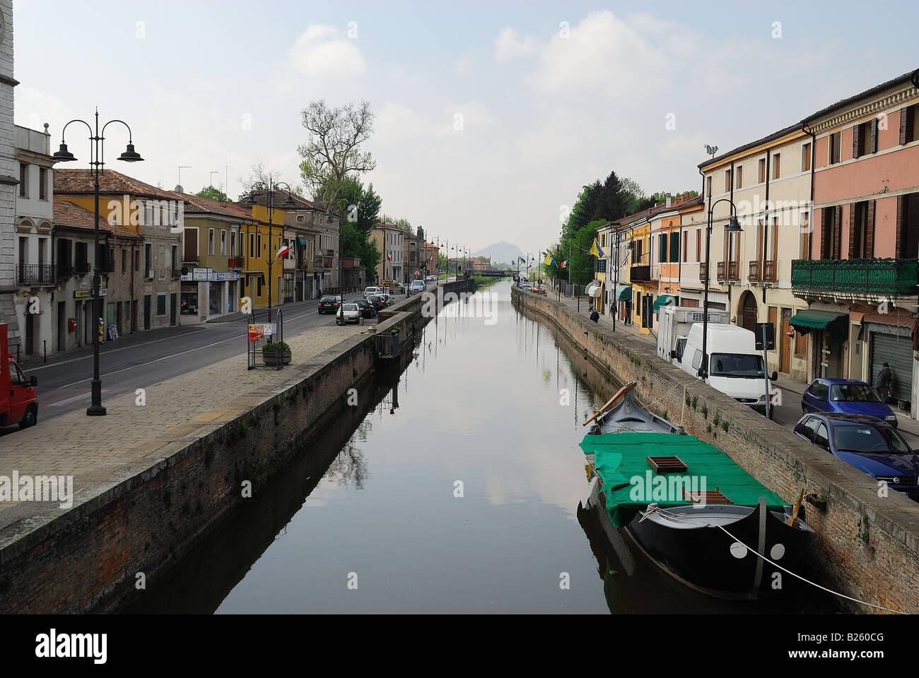 Battaglia Terme,Veneto,Italy.The navigable canal Stock Photo