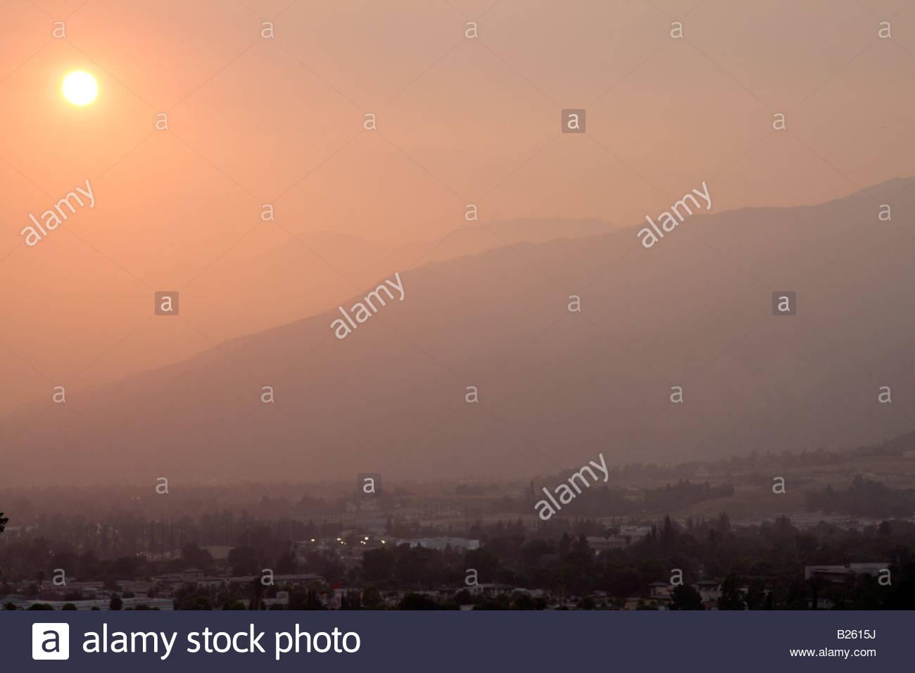San Gabriel Valley Sunset Glendora California Stock Photo