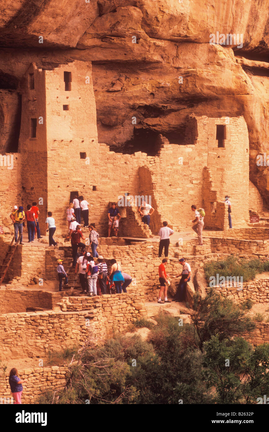 visitors at the Anasazi Indian ruins of Cliff Palace Mesa Verde National Park Colorado - Stock Image