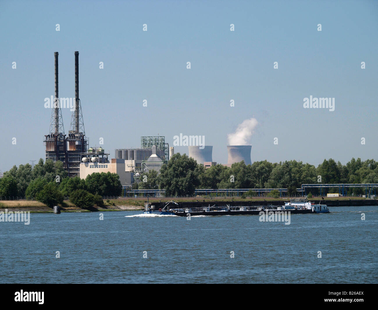 Port of Antwerp Flanders Belgium with the Doel nuclear powerplant in the background - Stock Image