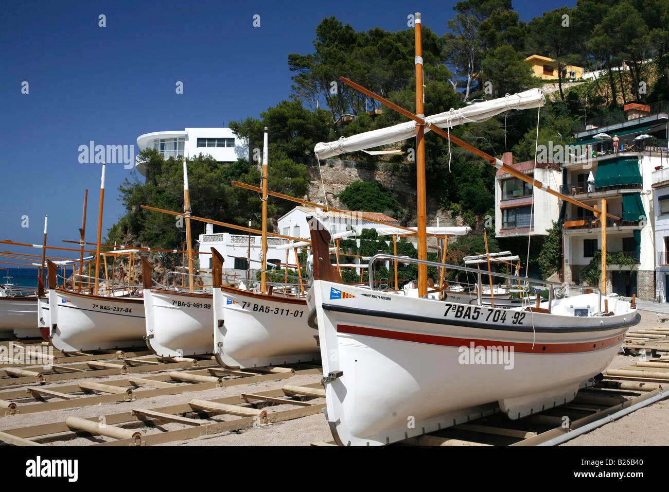 Catalonian Fishing boats, Sa Riera, Costa Brava, Catalonia, Spain - Stock Image