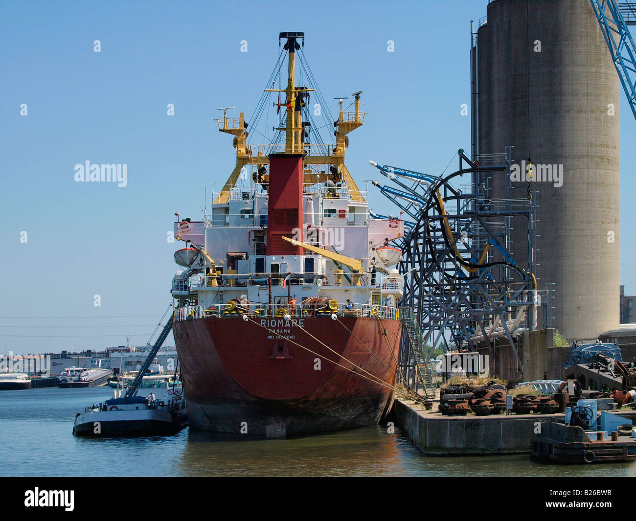 Bulk carrier cargo ship in thye port of Antwerp Flanders Belgium - Stock Image