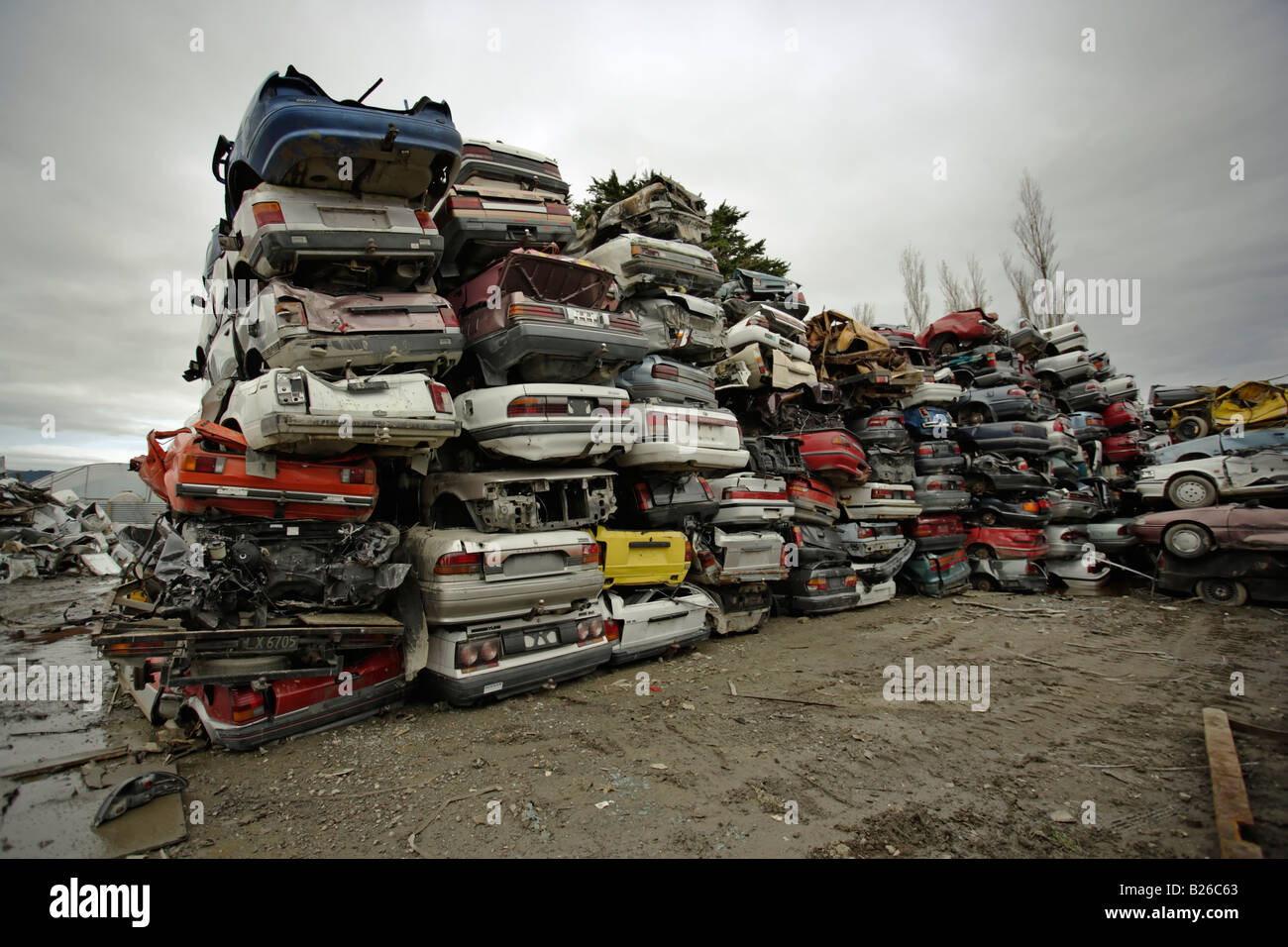 Car breakers yard New Zealand Mainly Japanese cars stacked high after processing and awaiting the crusher - Stock Image