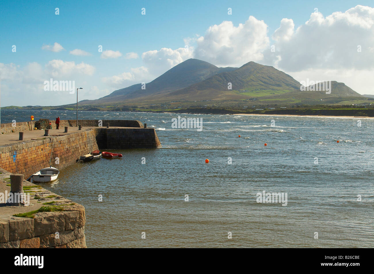 outdoor photo, view from Old Head (near Louisburgh) to Croagh Patrick, County Mayo, Ireland, Europe - Stock Image
