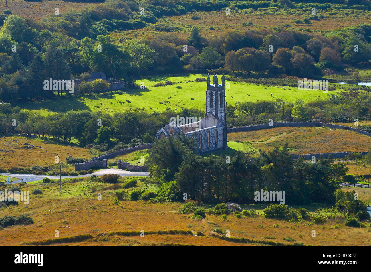 outdoor photo, Dunlewy Church (ruin), County Donegal, Ireland, Europe - Stock Image