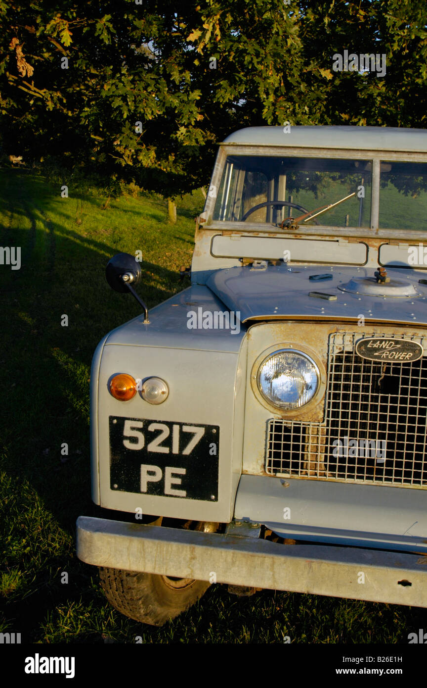 Historic 1963 Landrover Series 2a truckcab in very original and full working condition on a farm in Dunsfold, UK - Stock Image