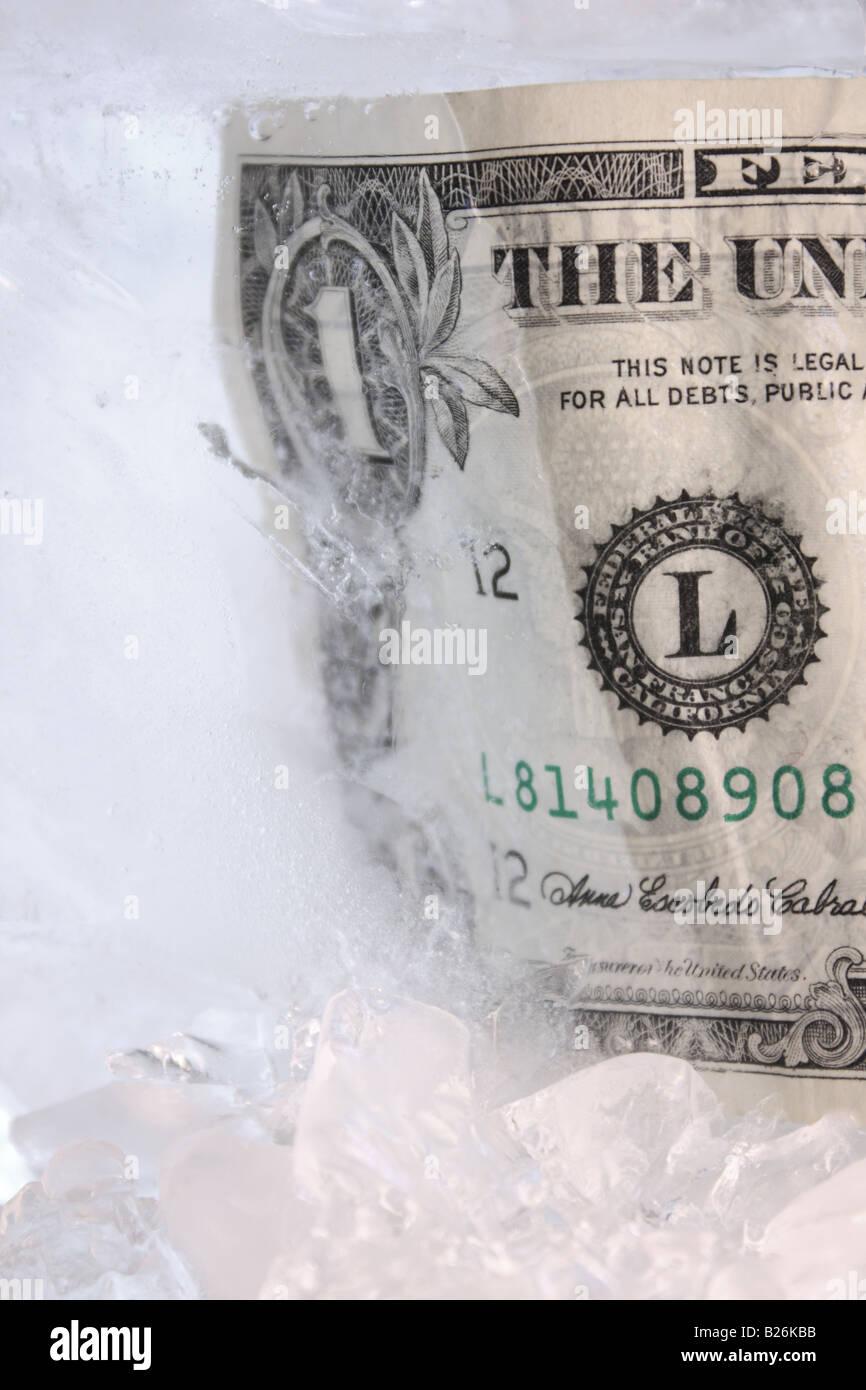 Frozen dollar - Stock Image