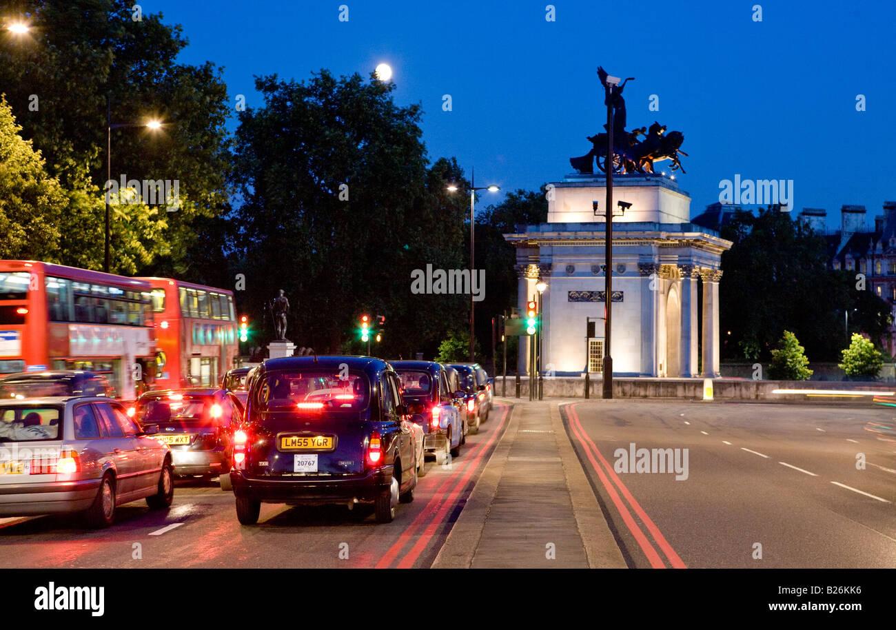 The Wellington Arch Hyde Park Corner London UK Europe - Stock Image