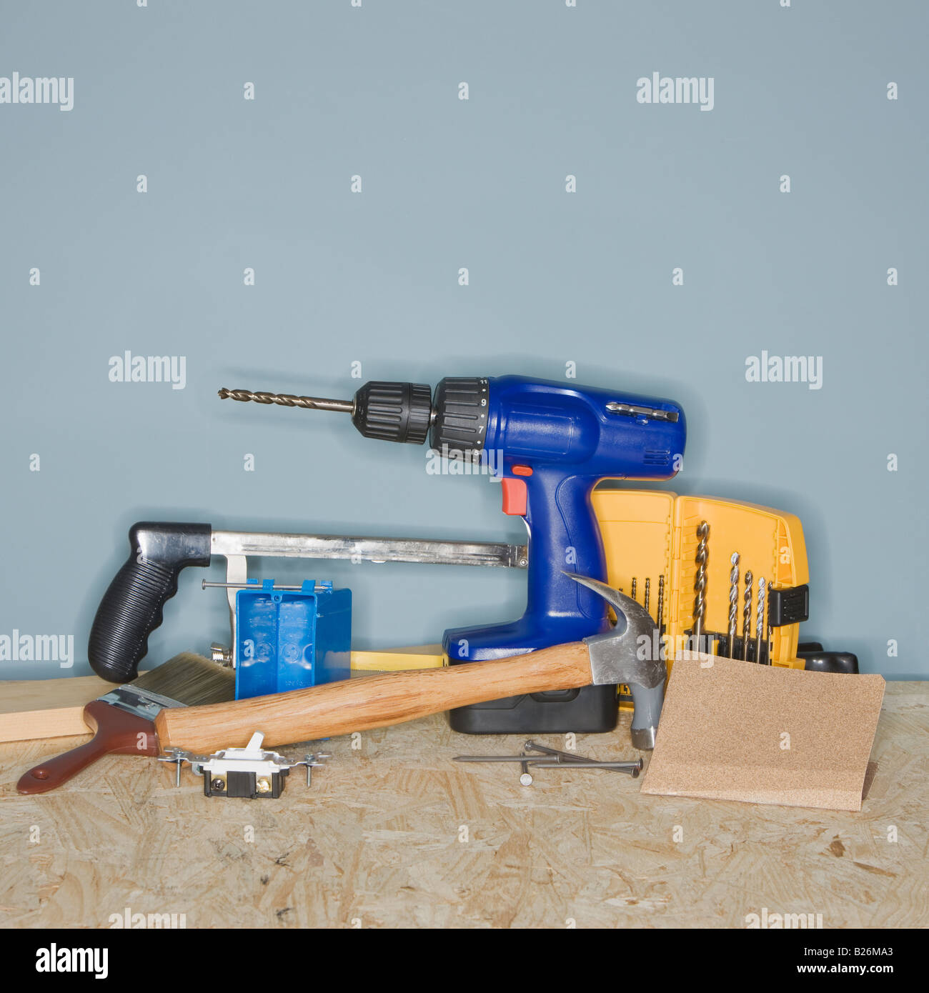 Assorted home improvement tools - Stock Image