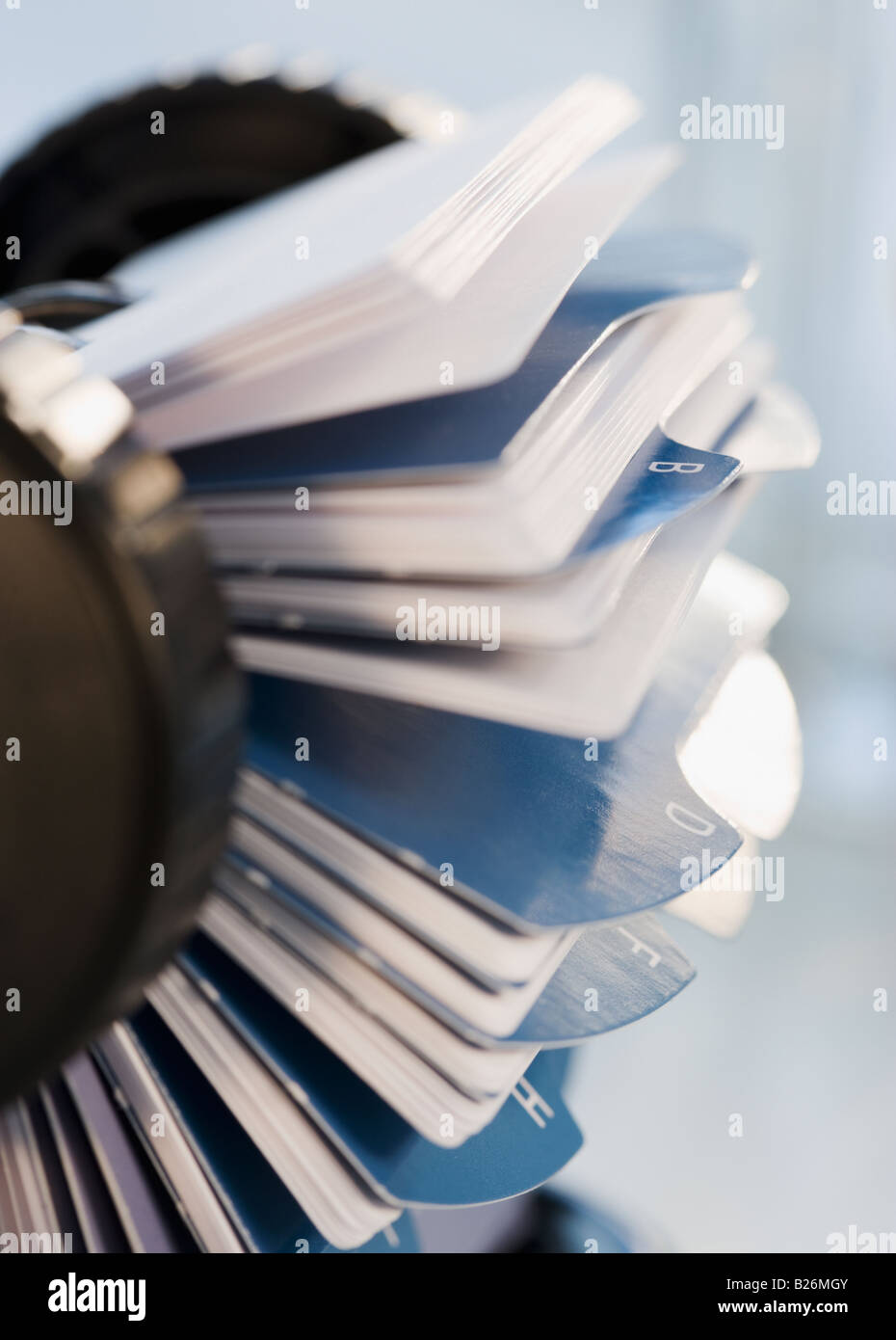 Close up of rotary card file - Stock Image