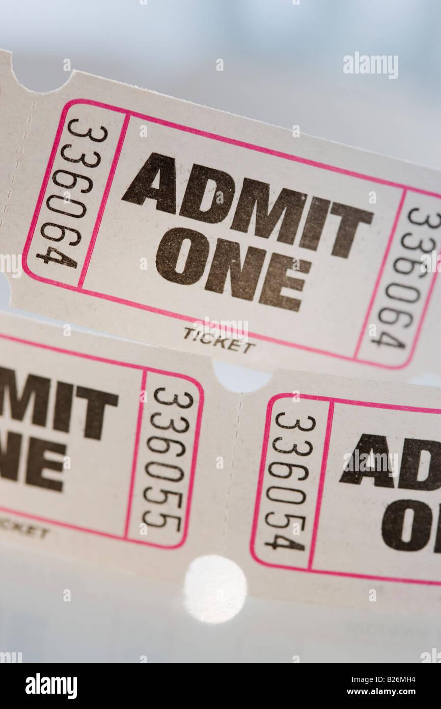 Close up of tickets - Stock Image