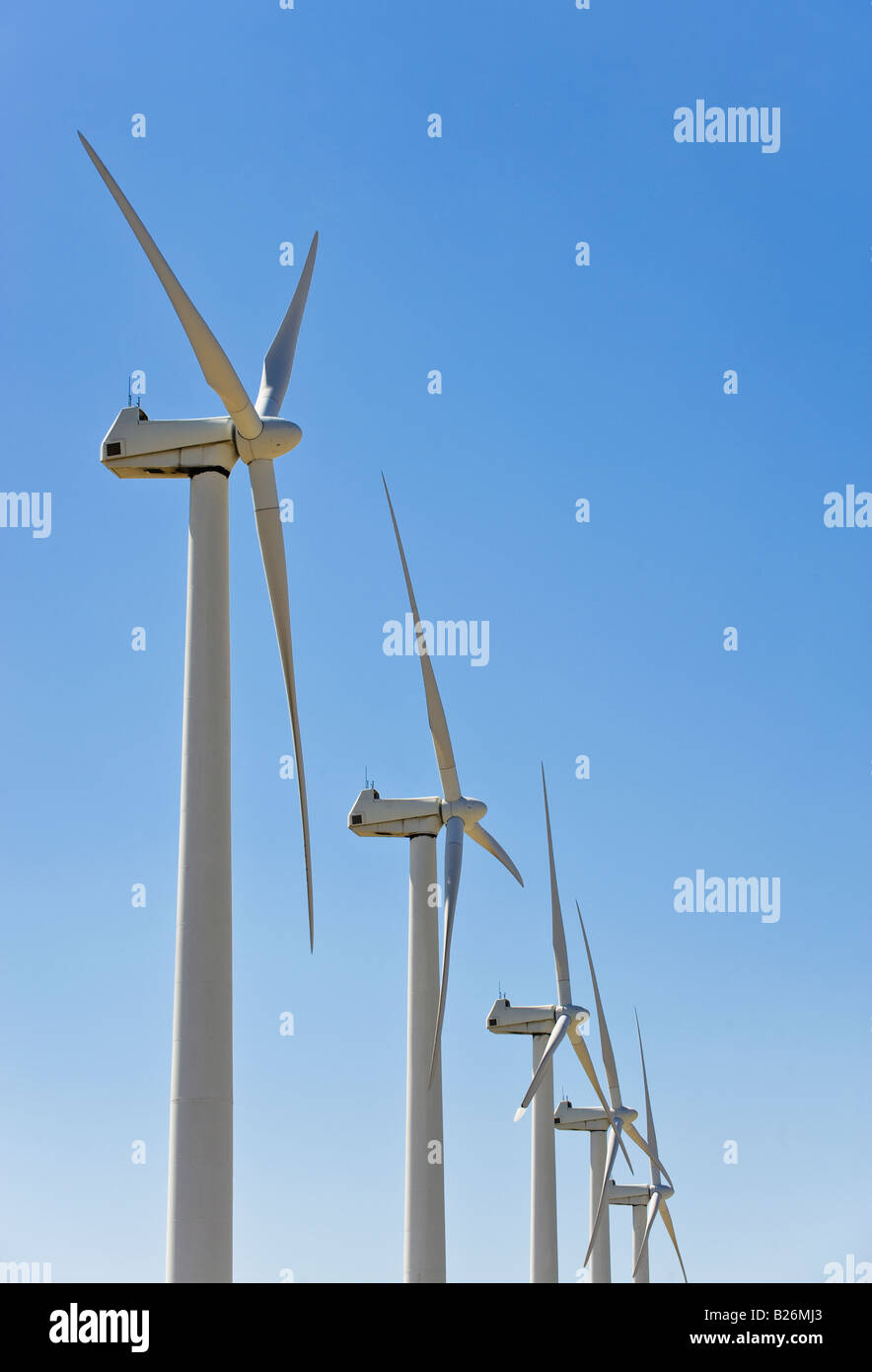 Low angle view of wind turbines - Stock Image