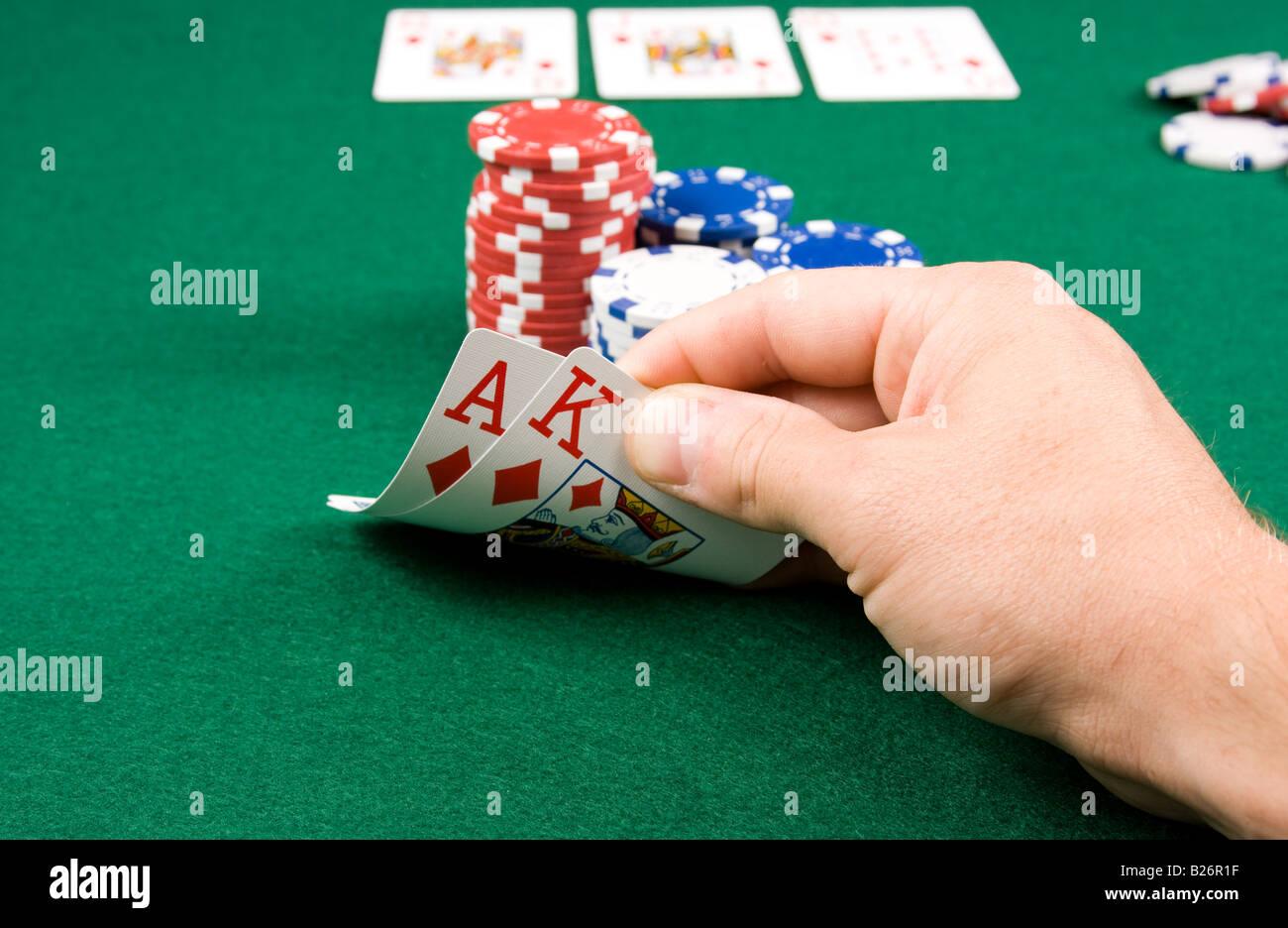 Texas Hold em Poker winning hand - Stock Image