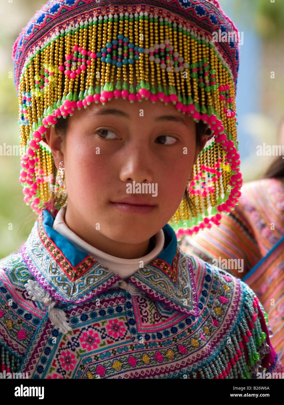 Flower Hmong gal in the market at Bac Ha Vietnam Stock Photo