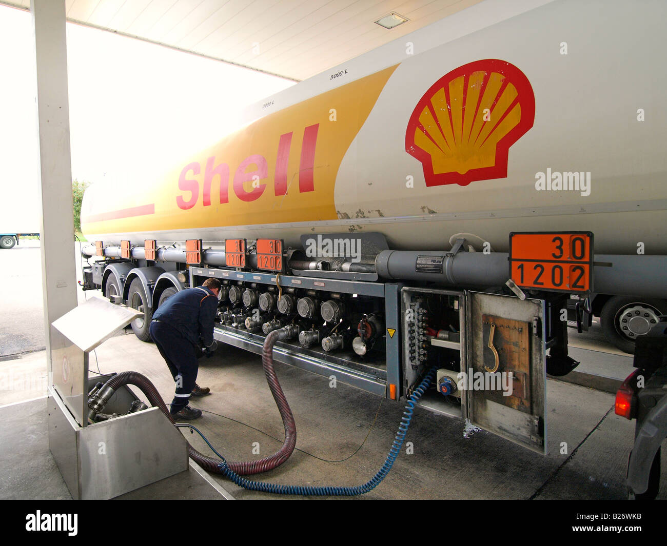 shell truck delivering diesel fuel at a special gas station for stock photo 18591535 alamy. Black Bedroom Furniture Sets. Home Design Ideas