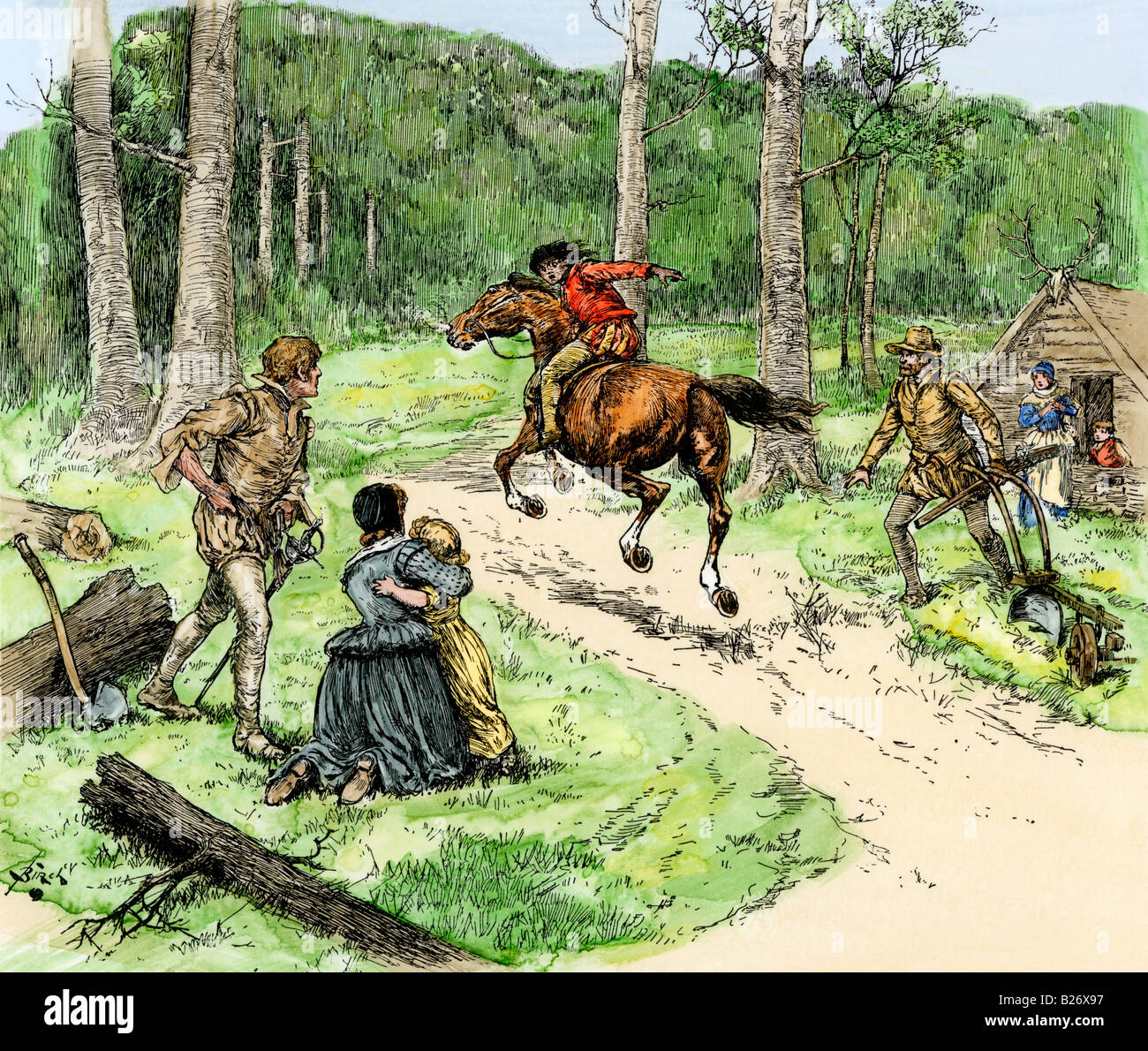 Messenger warning of a Native American attack Roanoke Colony late 1500s. Hand-colored woodcut - Stock Image